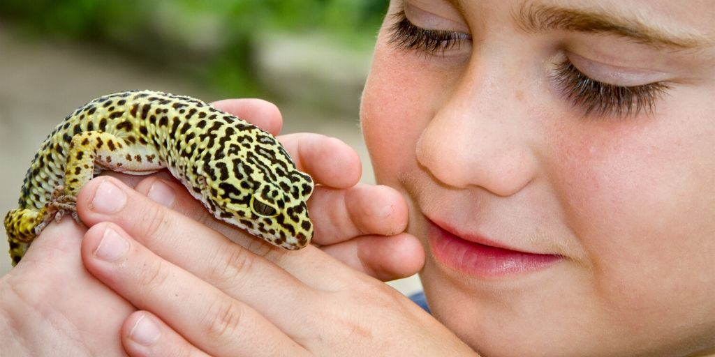 boy holding pet reptile