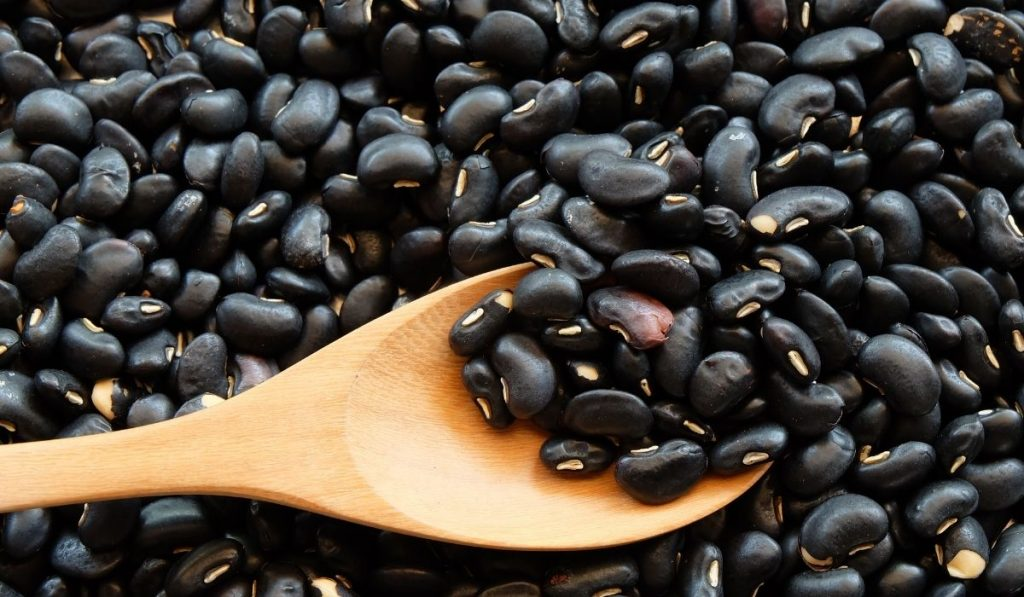 black beans with a wooden spoon