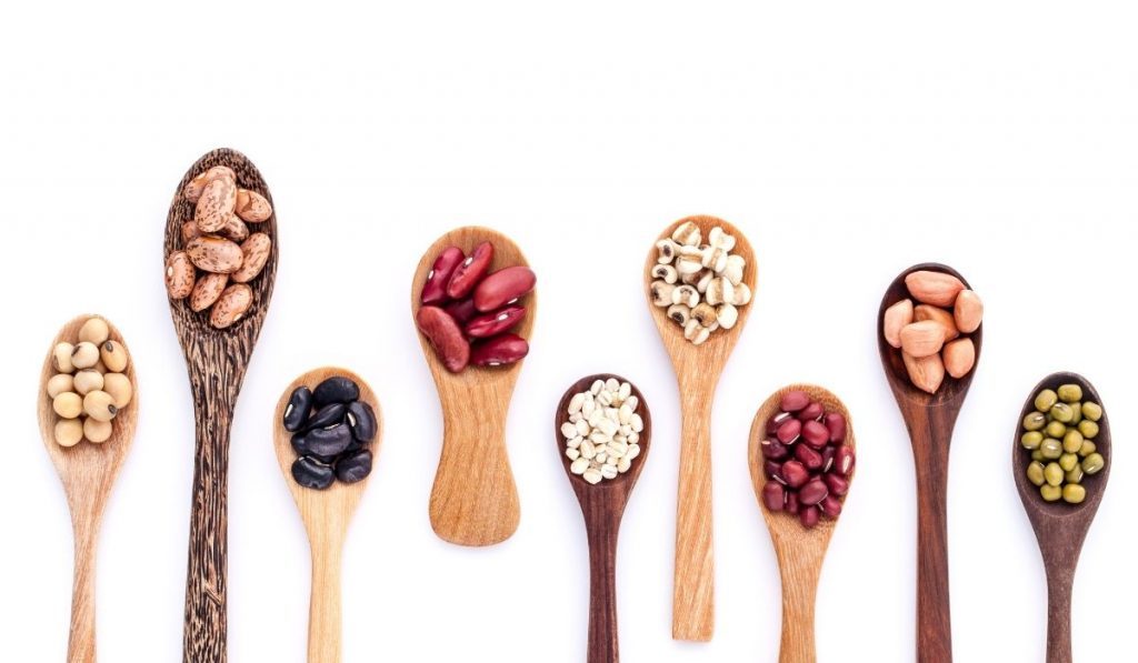 different kinds of beans in a small wooden teaspoons