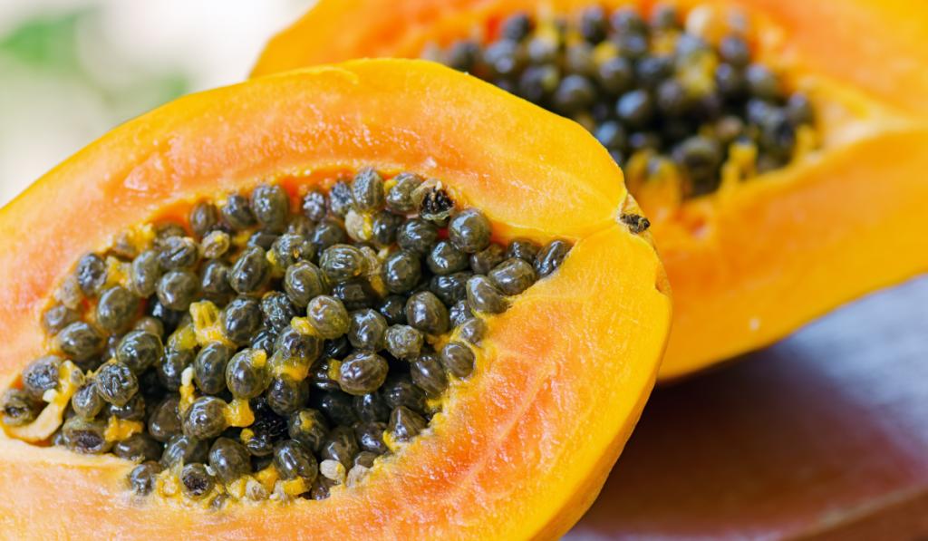 Slice ripe papaya